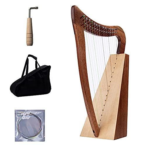 15 cuerdas Harp de caoba, cuerda de nylon irlandesa arpa celta con bolsa duradera, llave de ajuste y cuerdas de repuesto adecuadas para amantes de la música, principiantes, niños, adultos