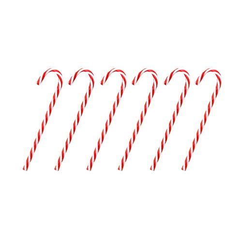 Angoily 6 Piezas de Bastón de Caramelo Adornos Navideños Creativos Mini Adornos de Bastón de Caramelo Centelleantes Adornos Navideños para Árbol Patio de Navidad (Rojo Y Blanco)