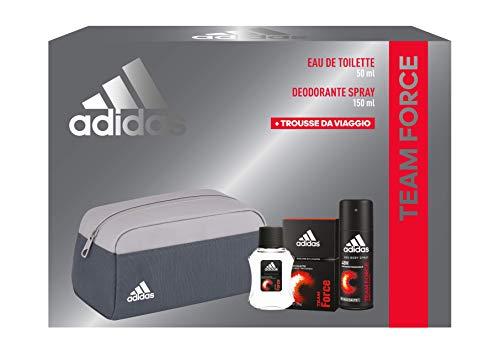 Adidas, Confezione Regalo Uomo Team Force, Eau de Toilette 50 ml, Deodorante Spray 150 ml, Trousse da Viaggio