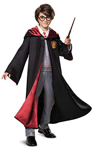 Disguise Harry Potter Premium Costume, Kids Prestige Hooded Robe and Jumpsuit, Children Size Large (10-12), Black & Red (107539G)