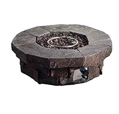 """Peaktop HF11802AA Round Propane Gas Fire Pit Table 50,000 BTU Stone Look for Outdoor Patio Garden Backyard Decking with PVC Cover, Lava Rock, 41"""" x 41"""", Gray"""