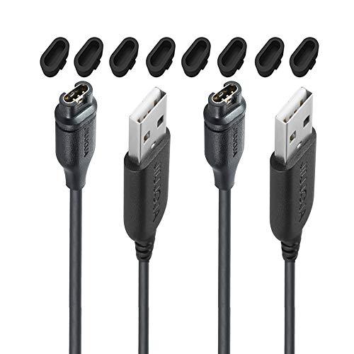 2-Pack for Garmin Impact Approach X10 S10/Fenix 5 5X Plus Charger Charging Clip Sync Data Cable for Approach S10 S40 S60 X10,Quatix 5 Sapphire,Vivoactive 3 4 4S,Vivomove 3 3S,Vivosport Smart Watch