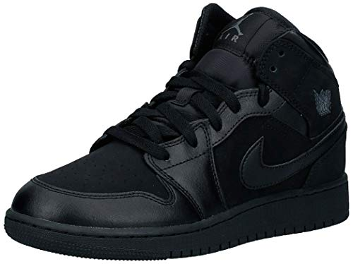 Nike Herren AIR Jordan 1 MID (GS) Basketballschuhe, Schwarz (Black/Dark Grey/Black 050), 37.5 EU