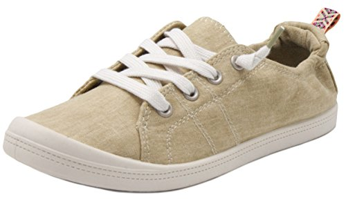 Rampage Women's Grateful Comfortable Slip On Sneaker Shoe with No-Tie Laces and Cute Design 8.5 Natural Wash Cotton