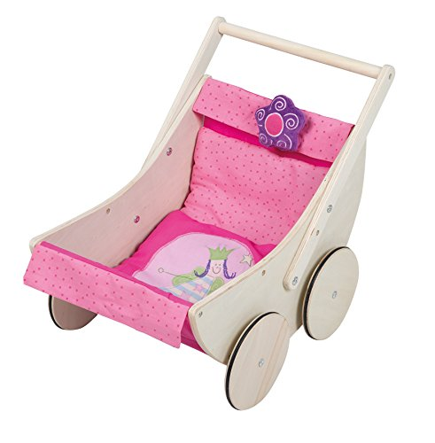 roba Puppenwagen \'Happy Fee\', inkl. textiler Ausstattung, Holz natur, durch schwenkbaren Bügelgriff beidseitig befahrbar