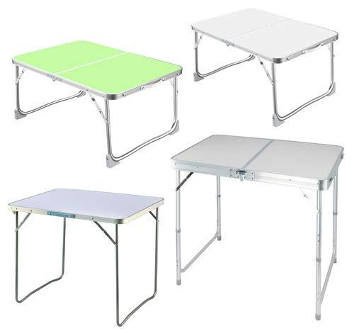 HHTX Mesa Plegable de 4 pies de Aluminio, portátil, para Acampar, para Interiores y Exteriores, en el jardín, para Fiestas, Picnic, Comedor, Barbacoa, Mesa con asa, Altura Ajustable, Color Blanco