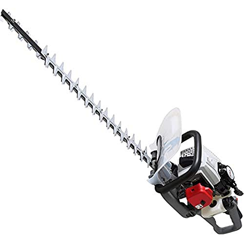 IKRA 82016900 tijeras cortasetos a gasolina IPHT 2660, longitud de corte 60cm, apertura 27mm, mango rotativo 180°, negro, gris y rojo