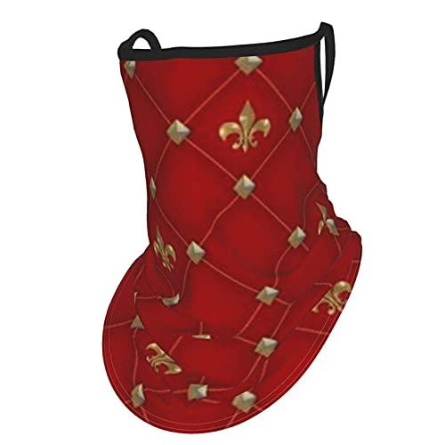 asdew987 Vintage Fleur De Lis On Deep Rich Red Pattern Face Cover Bufanda con orejeras de seda hielo cuello Polaina Headwear Pasamontañas para hombres y mujeres