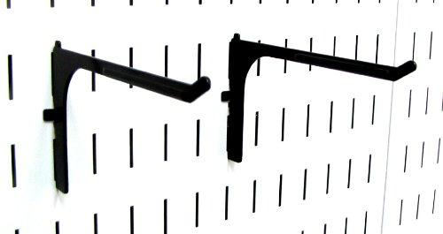 Wall Control Pegboard 6in Reach Extended Slotted Hook Pair - Slotted Metal Pegboard Hooks for Wall Control Pegboard and Slotted Tool Board – Black