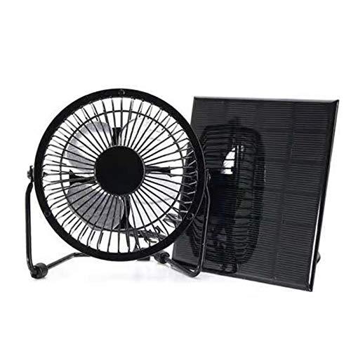 Huachaoxiang Ventilador De Panel Solar, Mini Mand Mand Portable Portátil Plegable Iron Pantalla Solar para Viajes Al Aire Libre Tarifa Tarifa Teléfono Móvil Office Outdoor Desktop,Negro