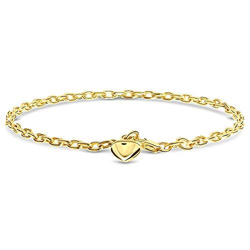 Miore armband uit 14 karaat 585 geelgoud met hart hanger, lengte 19 cm