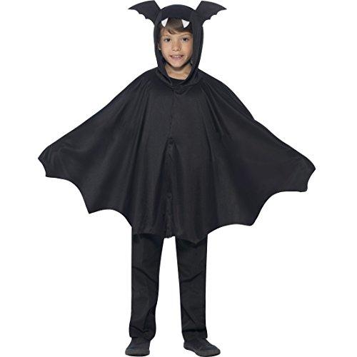NET TOYS Fledermaus Umhang Kind Bat Cape Kinder Halloween S/M, 4 - 9 Jahre, 115 - 143 cm Fledermausflügel Poncho mit Kapuze Vampirumhang Kapuzencape