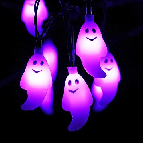 Morado Fantasma Guirnaldas Luminosas con Timer - HAYATA 30 LED 3m Guirnaldas Luminosas de halloween, Decoraciones, Dormitorio