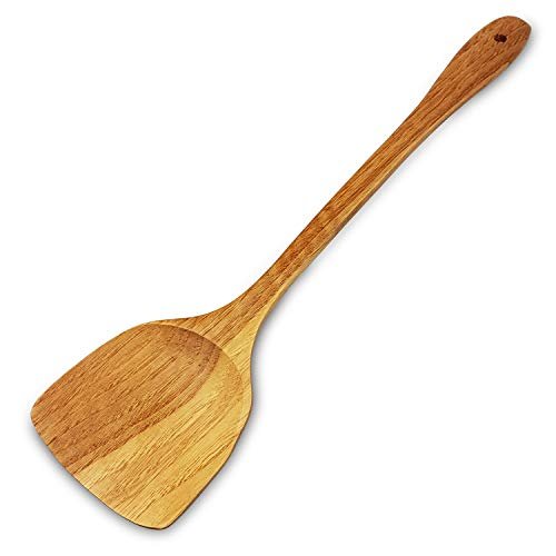 moonwood Holzspatel zum Kochen und Wok-Pfanne - 39 cm Extra Lang Küchenspatel Hartholz Ideal für Pfanne, Kochutensilien und Wok - Holzwender, Eckspatel, Löffel