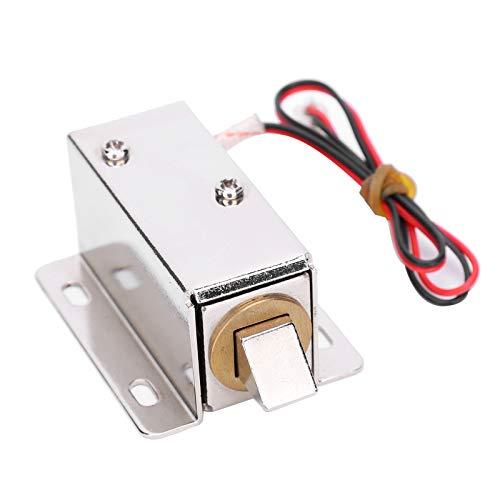 Cerradura eléctrica con solenoide, Mini cajón de puerta con lengüeta hacia abajo Conjunto de cerradura eléctrica Solenoide DC 12V Cerradura de diseño delgado, Cerradura micro electrónica Sistema de ac
