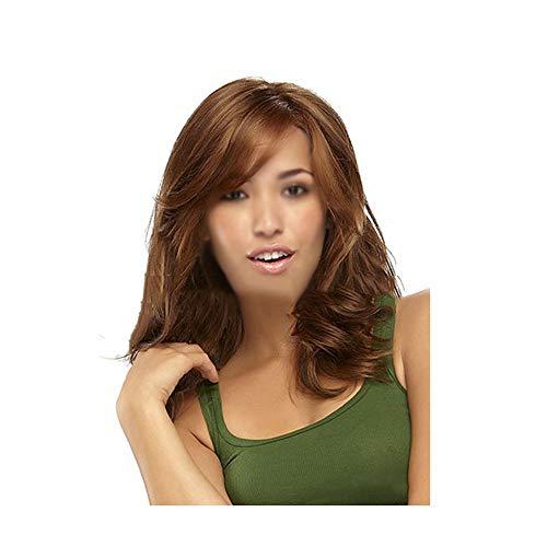 JKL Capucha para mujer, pelo largo y rizado oblicuo, para teñir, de alta temperatura, con capucha dorada, peluca de moda europea y americana (color: B)