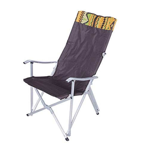 Outdoor Recliner Ultra-Light Aluminum Folding Beach Chair Leisure Backrest Fishing Chair Director Chair (Color : Brown)
