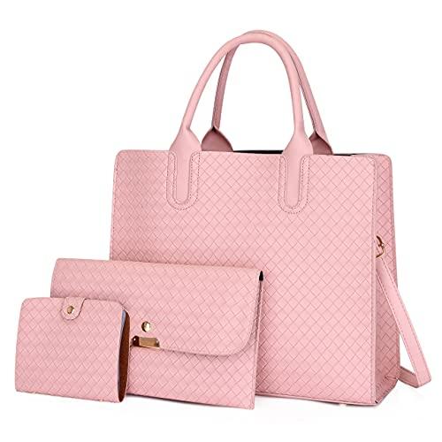 3 unids/set de moda de cuero para mujer, bolso de mensajero de color sólido, bolsa de hombro para mujer (color: rosa, tamaño: 32 x 12 x 27.5)