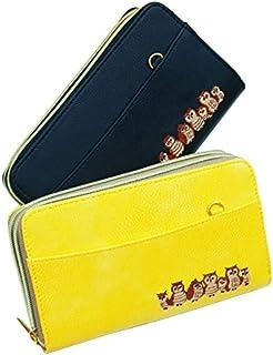 ダブルファスナー 長財布 大容量 開運 福財布 レザー調(メンズ レディース)かわいい幸運のふくろうを刺繍したお財布ポーチ 肩掛けストラップ付き
