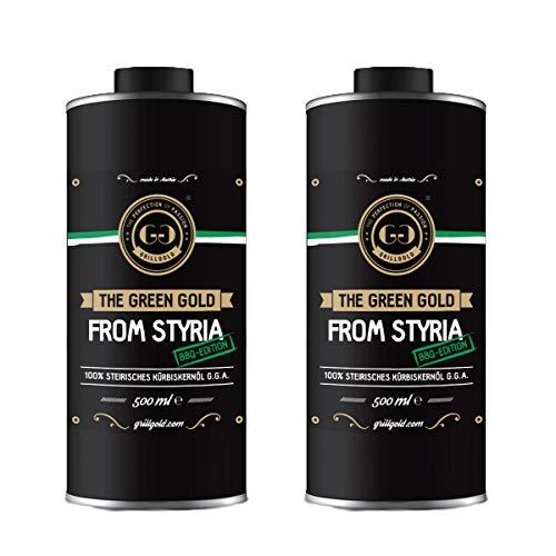 Grillgold - Aceite de semillas de calabaza, 100 % puro aceite de semillas de calabaza premium de Steiermark en práctica lata de 0,5 litros para barbacoa y barbacoa (2 unidades   ges. 1 litro)