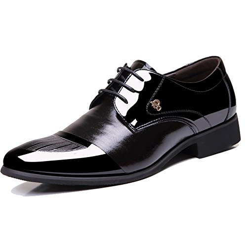 OUOUVALLEY Mens Patent Leather Tuxedo Dress Shoes Lace up Pointed Toe Oxfords 1877 Black 7D(M) US