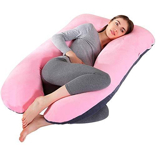 U-förmiges Ganzkörper-Stützkissen für Schwangere zum Seitlichen Schlafen Contoured Maternity Pillow Stillkissen Abnehmbarer Kissenbezug 70x130cm