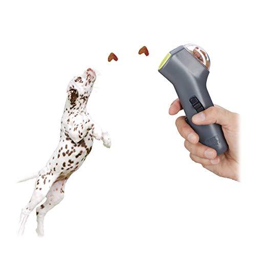 Relaxdays Leckerli Pistole, interaktives Hundespielzeug, Hunde & Welpen, Futter, Belohnung & Training, Leckerlie Werfer, grau