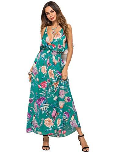 wengshilin vrouwen diepe v-hals bloemenprint bank jurk bohemien lange jurk mouwloze open rug ruches geplooide rug maxi jurk