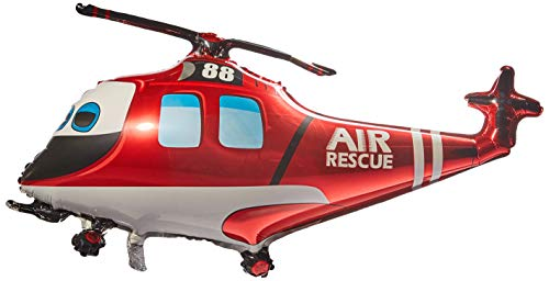 LA Balloons Foil Balloon 901747 Rescue Helicopter, 38', Multicolor