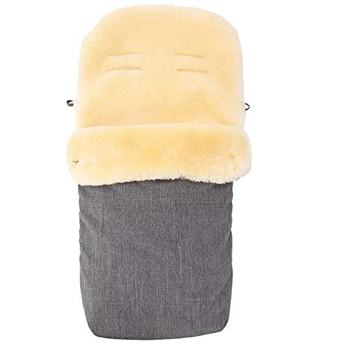 Merauno® Baby Lammfellfußsack Kinderwagen Fellsack kuscheliger Buggy Kinderwagen-Fußsack aus medizinischem Fell Wind und Wasserdicht Universal 90×50cm (Hellgraue Melange)