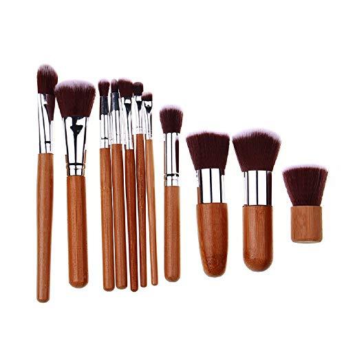 Set De Pinceaux De Maquillage 11 Manche En Bambou Naturel Pinceau Blush En Fibre Pinceau Fard À Paupières