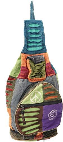 GURU SHOP Hippie Rucksack, Patchwork Nepalrucksack, Herren/Damen, Mehrfarbig, Baumwolle, Size:One Size, 35x23x23 cm, Ausgefallene Stofftasche