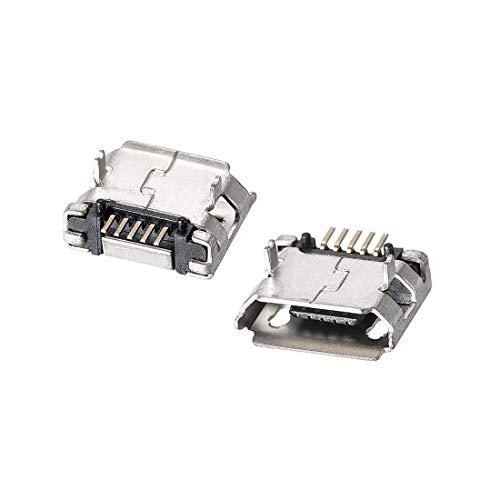 sourcing map 100PCS Micro USB Hembra Conector Jack Puerto 5-Pin DIP Adaptador de repuesto de 180 grados