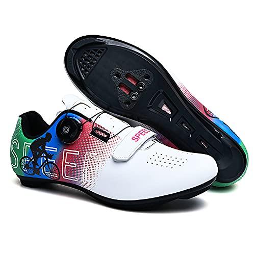 DSMGLRBGZ Zapatos de ciclismo, (37-46) con hebilla giratoria de zapato transpirable y suela de goma, zapatos de bicicleta de carretera para hombres, zapatos para hombres, mujeres, blanco, 44