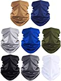 SATINIOR 8 Pieces Summer Face Coverings Face Gaiters Neck Gaiter Headwear for Outdoor Cycling Fishing (Black, Grey, Blue, White, Khaki, Dark Grey, Navy Blue, Army Green)