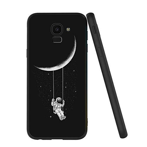Yoedge Cover Samsung Galaxy J6 2018, Sottile Antiurto Custodia Nero Silicone TPU con Disegni Pattern Ultra Slim 360 Protective Bumper Case per Apple Samsung Galaxy J6 2018, Astronauta