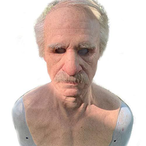 Máscara Realista con Forma de Anciano para Adultos, Máscara de Látex con Forma de Rostro Humano Realista, Cobertura Completa de La Cabeza, Suministros para Fiestas de Halloween, Accesorios de
