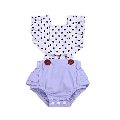 Topkeal - Body para bebé con espalda descubierta, para verano y niña, mono plisado con lunares morado 70 cm