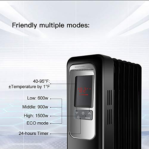 Space Heater, Aireplus 1500W Oil Filled Radiator Electric Heater with Digital Thermostat, 24 Hrs Timer & Remote, Portable Heater for Full Room Indoor