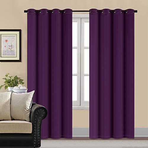 HCILY Velvet Blackout Curtains Thermal Insulated for Bedroom 2 Panels (W52'' x L96'', Purple)