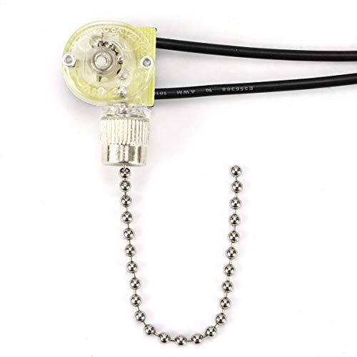 Hunter ZE-109 Zing - Interruptor de luz para ventilador de oído con cadena de tracción para luces de ventilador, lámparas y luces de pared (cadena de tracción de níquel)