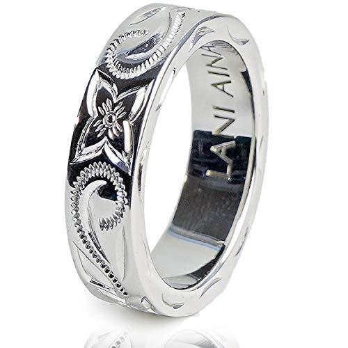 LANI AINA ハワイアンジュエリー 指輪 リング 幅6mm プルメリア スクロール 9号