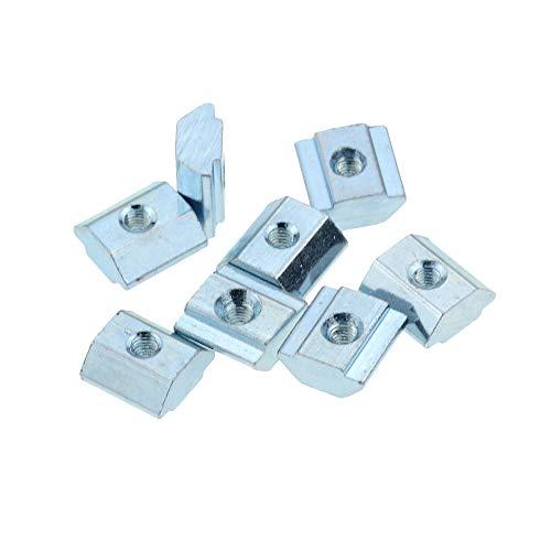 T bloque de tuerca deslizante Bloque Cuadrado Placa revestida de zinc Aluminio para la UE Standard 2020 Ranura de perfil de aluminio para Kossel DIY CNC DUO ER (Color : 2020 M5 100pcs)