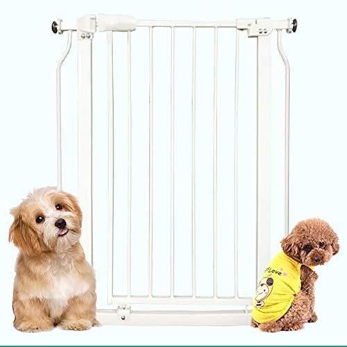NDYD Indoor Balkon Pet Gate, Hundezaun, Prevent-Sprung Leitschiene, Doppeltür Super verstellbar Baby-Tor, for das Haus, Tür, Treppen, Großer Fressnapf Hund und Katze Schutzzaun DSB