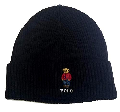 Polo Ralph Lauren Unisex Bear Design Wool Winter Skulllie Cap Beanie Hat One Size (Black/Red Sweater)