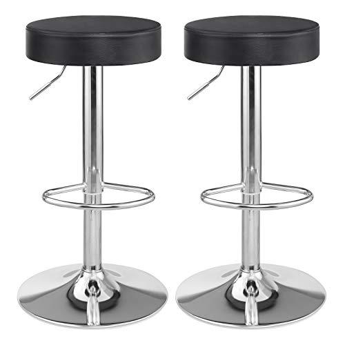 SONGMICS Barhocker 2er Set, höhenverstellbare Barstühle mit Kunstlederbezug, 360° Drehstühle mit Fußstütze, Küchenstühle, verchromter Stahl, schwarz LJB01B