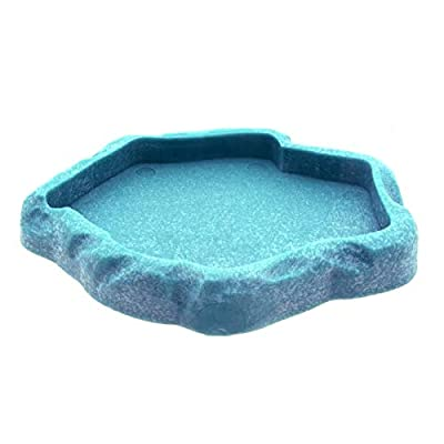Uotyle Reptile Feeding Bowl, Crawler Pet Feeding Round bowl Food Water Non-toxic Resin Dish Suitable for Reptile Turtle Tortoise Scorpion Lizard Crabs Pets Supplies Blue Small from Uotyle