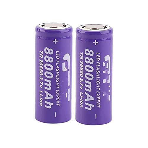 2pcs 26650 8800 Mah Batería Recargable De Iones De Litio De Alta Capacidad, Utilizada para Linterna Potencia MóVil, Gamepad CáMara Walkie Talkie