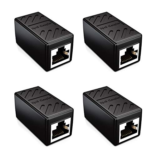 deleyCON 4X CAT6 Kupplung Verbinder Netzwerkkabel Patchkabel Ethernet Kabel Adapter Modular Geschirmt 2X RJ45 Buchse DSL LAN RJ45 Schwarz