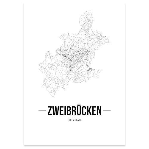 JUNIWORDS Stadtposter, Zweibrücken, Wähle eine Größe, 30 x 40 cm, Poster, Schrift B, Weiß